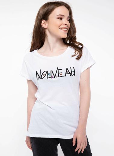 DeFacto Taş Detaylı Baskılı T-shirt Beyaz